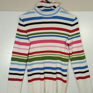 Jones new York sport striped turtleneck sweater